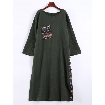 Patched Vintage Loose Thick Dress
