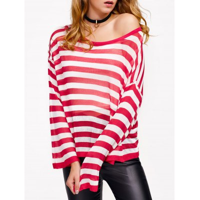 Casual Drop Shoulder Striped Pullover Sweater