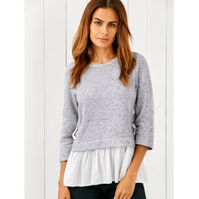 Lace Up Flounced Pullover