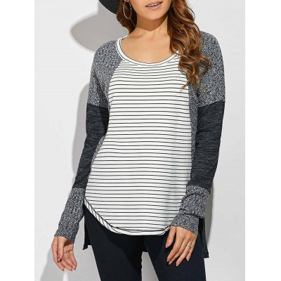 Striped Ribbed Knitted High Low Pullover
