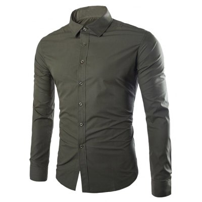 Single Breasted Shirt Collar Cotton Shirt