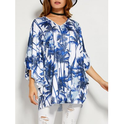 Coconut Tree Print Backless Blouse