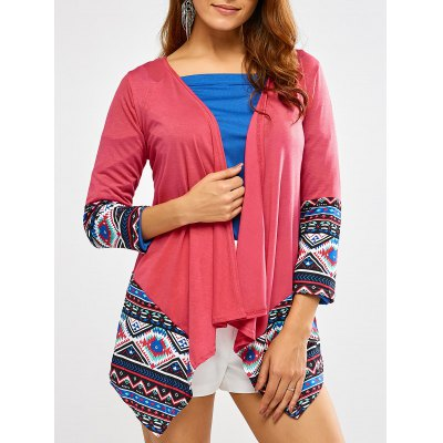 Open Front Printed Draped Blouse