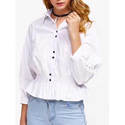 Hollow Out Flounced Blouse