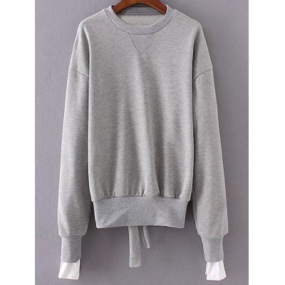 Back Tied Asymmetric Paneled Sweatshirt