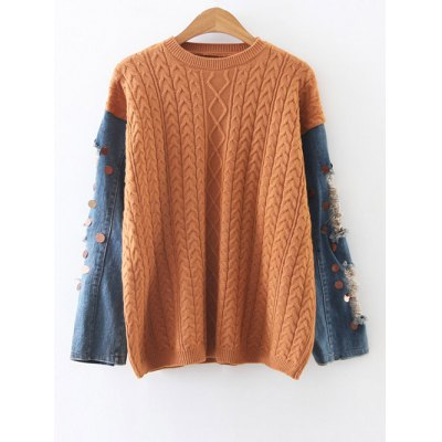 Denim Panel Cable Knit Sweater