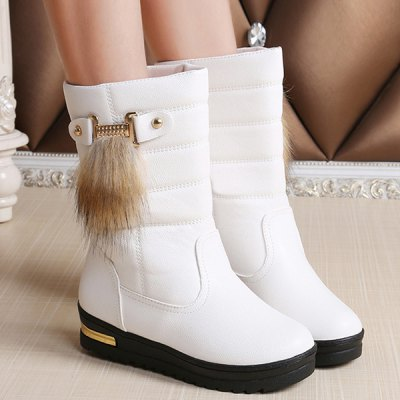 PU Leather Faux Fur Mid Calf Boots
