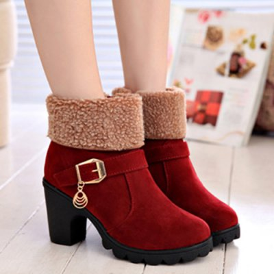 Chunky Heel Zip Ankle Boots