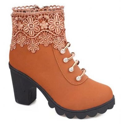 Embroidery Zipper Ankle Boots