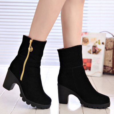 Zipper Flock Short Boots
