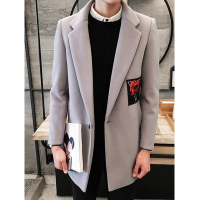 Single Breasted Lapel Rose Patch Coat