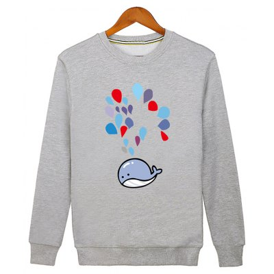 Water Drop Printed Crew Neck Sweatshirt
