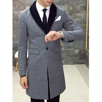 Single Breasted Knitted Collar Back Slit Coat