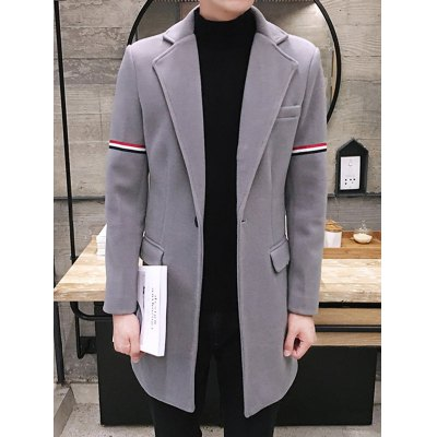 Single Buttton Lapel Striped Pattern Coat