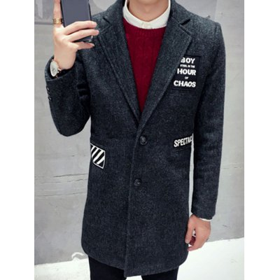Single Breasted Lapel Letter Patch Coat