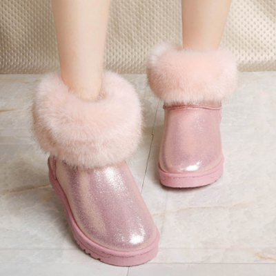Faux Fur PU Leather Snow Boots