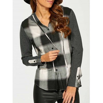 Button Up Plaid Hoodie