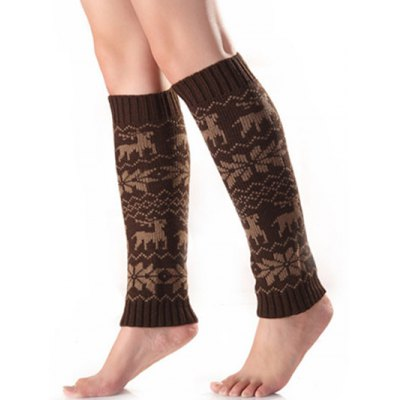 Christmas Warm Fawn Snowflake Knitted Leg Warmers
