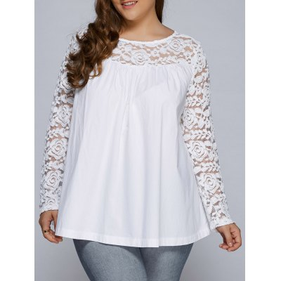Plus Size Lace Splicing Long Sleeve Blouse