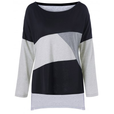 Plus Size Drop Shoulder Color Block Tee