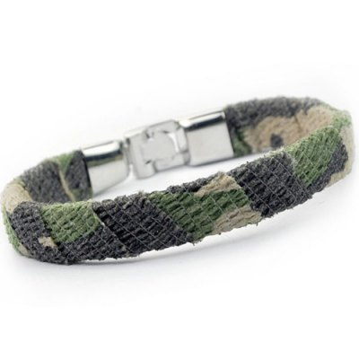 Camouflage Design Artificial Leather BraceletMens Jewelry<br>Camouflage Design Artificial Leather Bracelet<br><br>Item Type: Chain &amp; Link Bracelet<br>Gender: For Men<br>Chain Type: Leather Chain<br>Style: Trendy<br>Shape/Pattern: Others<br>Weight: 0.050kg<br>Package Contents: 1 x Bracelet