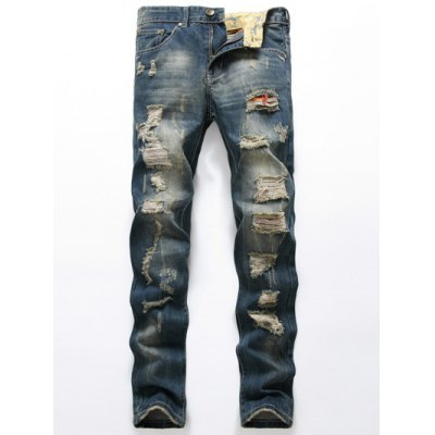 Scratched Pocket Rivets Ripped Destroyed Jeans