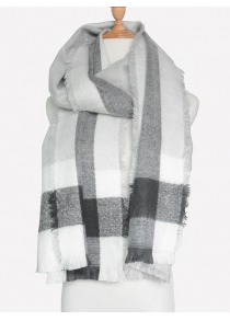 Outdoor Check Pattern Fringed Shawl Scarf