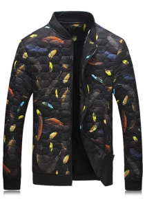 Geometric Pattern Feather Printed Quilted Jacket
