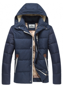 Plus Size Hooded PU Leather Spliced Down Jacket