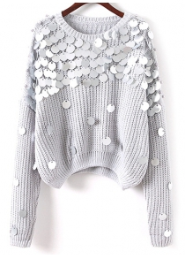 Sequined Loose Chunky Sweater