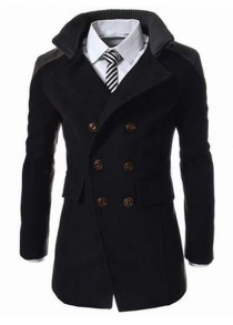 Knitted Collar Double Breasted Spliced Wool Mix Coat