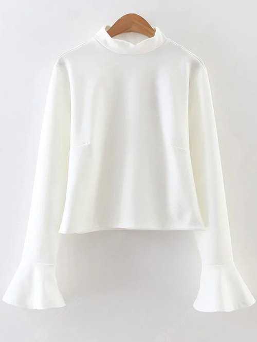 Flare Sleeve Ruffled Fitting Blouse L WHITE