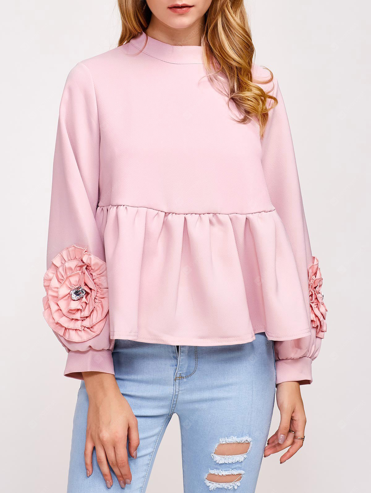 Flower Embellished Puff Sleeve Blouse PINK
