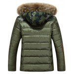 cheap Camo Insert Faux Fur Hooded Padded Jacket