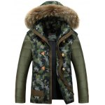 Camo Insert Faux Fur Hooded Padded Jacket