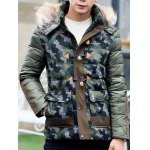 Camo Insert Faux Fur Hooded Padded Jacket deal