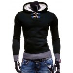 Buy Stylish Hooded Horn Button Patched Splicing Slimming Long Sleeve Polyester Hoodie Men XL