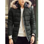 cheap Contrast Pocket Faux Fur Hooded Padded Jacket