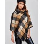 cheap Plaid Asymmetric Pullover Cape Sweater