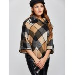 Plaid Asymmetric Pullover Cape Sweater deal