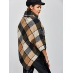 best Plaid Asymmetric Pullover Cape Sweater