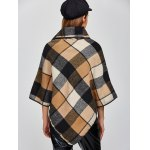 Plaid Asymmetric Pullover Cape Sweater photo