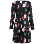 cheap Christmas Santa Claus Print Dress