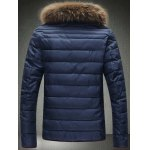 cheap Contrast Trim Zip Up Faux Fur Collar Padded Jacket