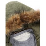 Faux Fur Knitted Hood Zippered Quilted Jacket deal