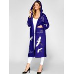 Hooded Embroidery Woolen Blend Coat for sale
