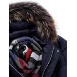 Pocket Front Zippered Faux Fur Hooded Padded Jacket deal