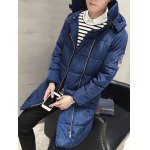 Patch Design Hooded Side Zip Up Padded Coat deal