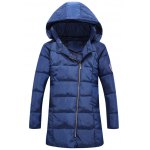 Patch Design Hooded Side Zip Up Padded Coat
