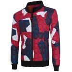 Stand Collar Color Block Geometric Pattern Jacket